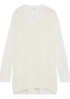 Max Mara Woman Piera Cable Knit-paneled Brushed-knitted Sweater Ivory