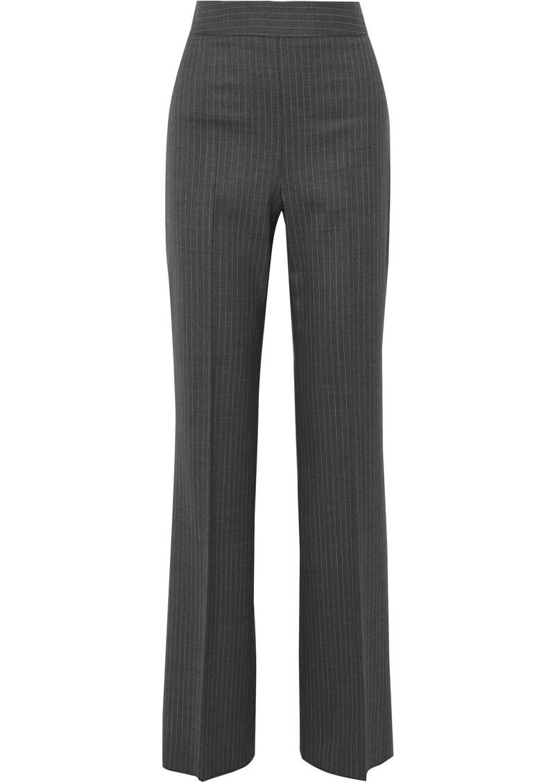 Max Mara Woman Pinstriped Wool-blend Twill Bootcut Pants Gray