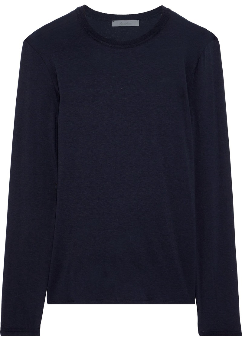 Max Mara Woman Piovra Stretch-jersey Top Navy