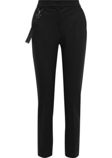 Max Mara Woman Piume Strap-detailed Wool-jersey Tapered Pants Black