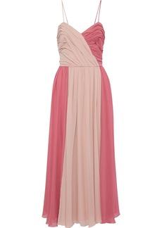 Max Mara Woman Pleated Two-tone Silk-chiffon Gown Pink