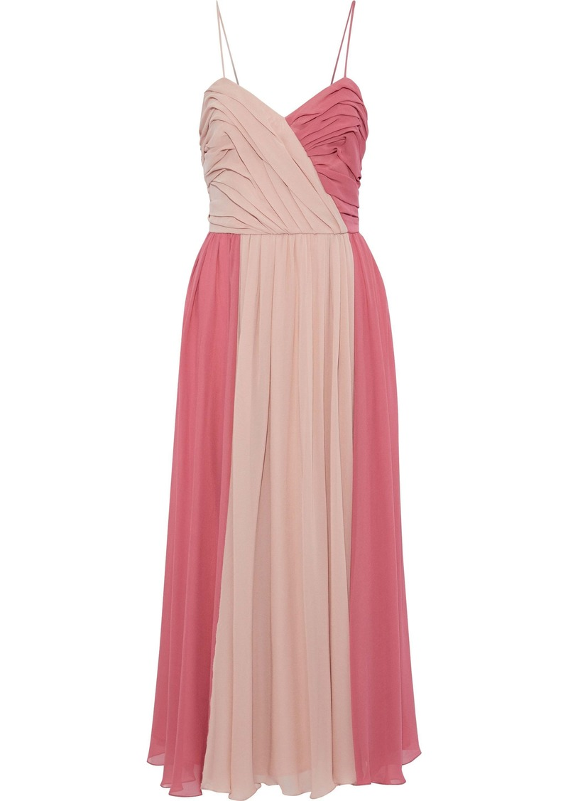 Max Mara Woman Pleated Two-tone Silk-chiffon Gown Pink