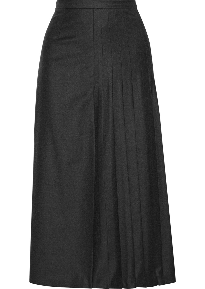 Max Mara Woman Pleated Wool-blend Felt Midi Skirt Anthracite