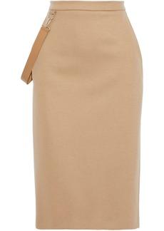 Max Mara Woman Polder Strap-detailed Wool-jersey Pencil Skirt Sand