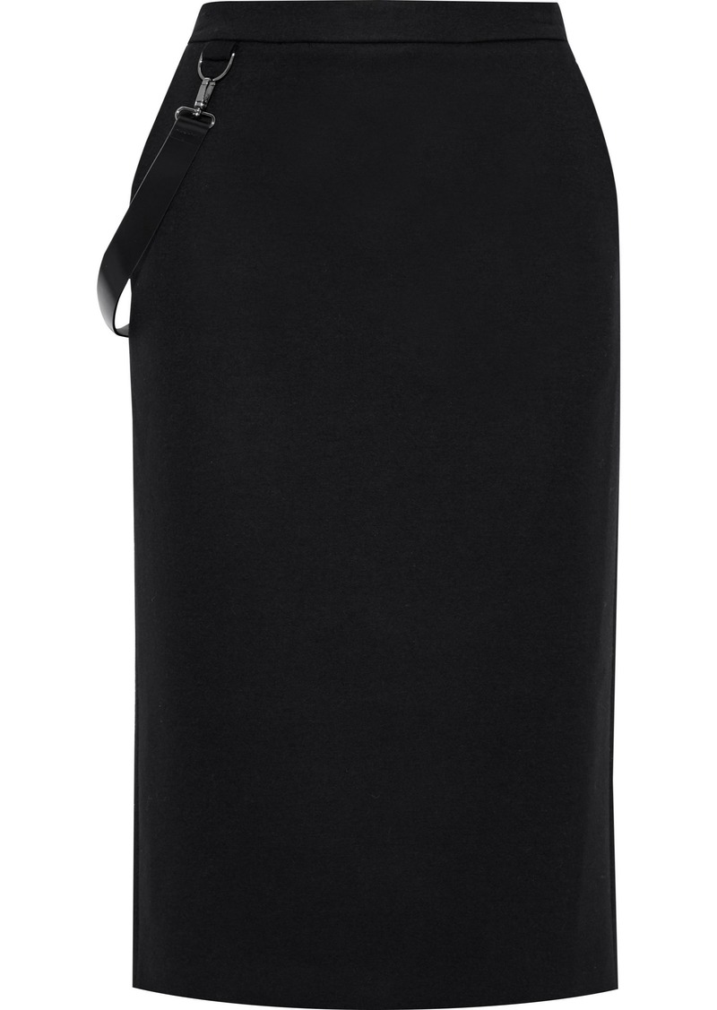 Max Mara Woman Polder Strap-detailed Wool-jersey Pencil Skirt Black
