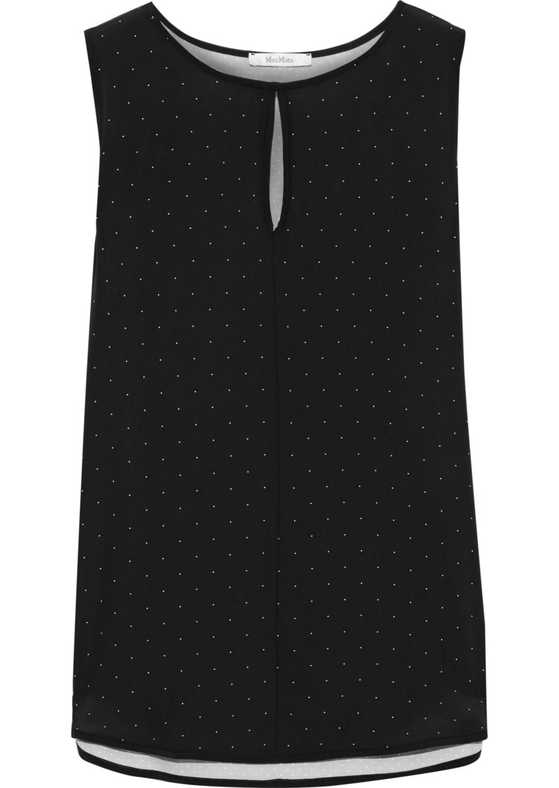 Max Mara Woman Eccelso Polka-dot Silk Crepe De Chine And Stretch-jersey Top Black
