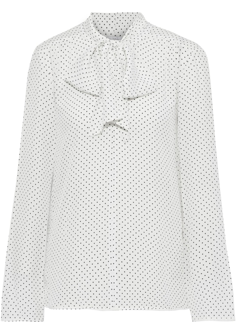 Max Mara Woman Pussy-bow Polka-dot Silk Crepe De Chine And Jersey Blouse Ivory