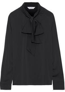 Max Mara Woman Radura Pussy-bow Silk Crepe De Chine Blouse Black