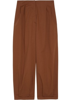Max Mara Woman Rana Cropped Cotton-blend Twill Tapered Pants Brown