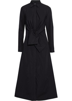 Max Mara Woman Raro Tie-front Cotton-poplin Midi Shirt Dress Black