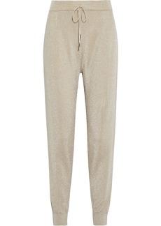 Max Mara Woman Rauche Metallic Knitted Track Pants Platinum