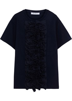 Max Mara Woman Razza Ruffled Poplin And Cotton-blend Ponte Top Midnight Blue