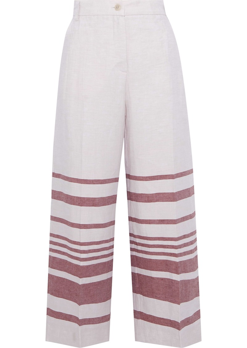 Max Mara Woman Ridente Cropped Striped Linen And Cotton-blend Wide-leg Pants Ivory