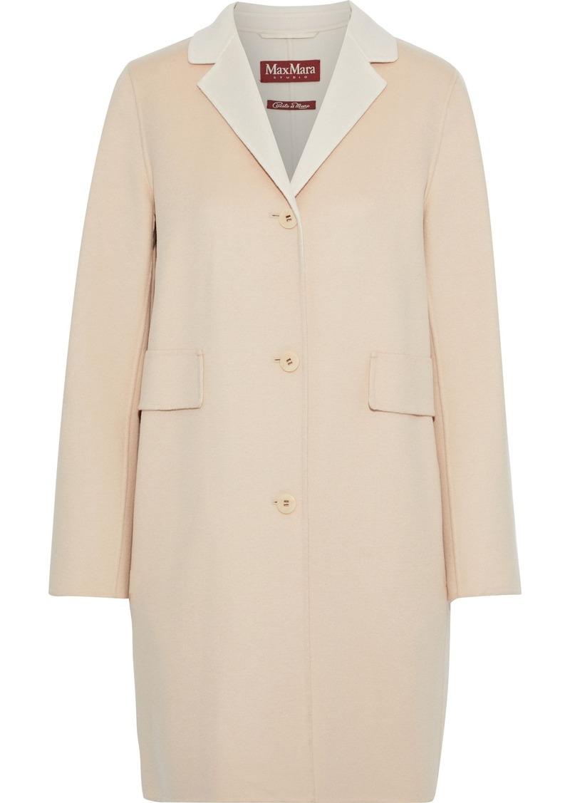Max Mara Woman Rodano Wool Silk And Cashmere-blend Felt Coat Beige