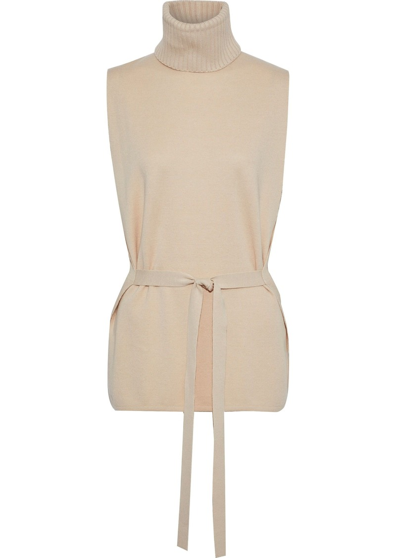 Max Mara Woman Rubiera Tie-front Silk And Wool-blend Turtleneck Top Beige