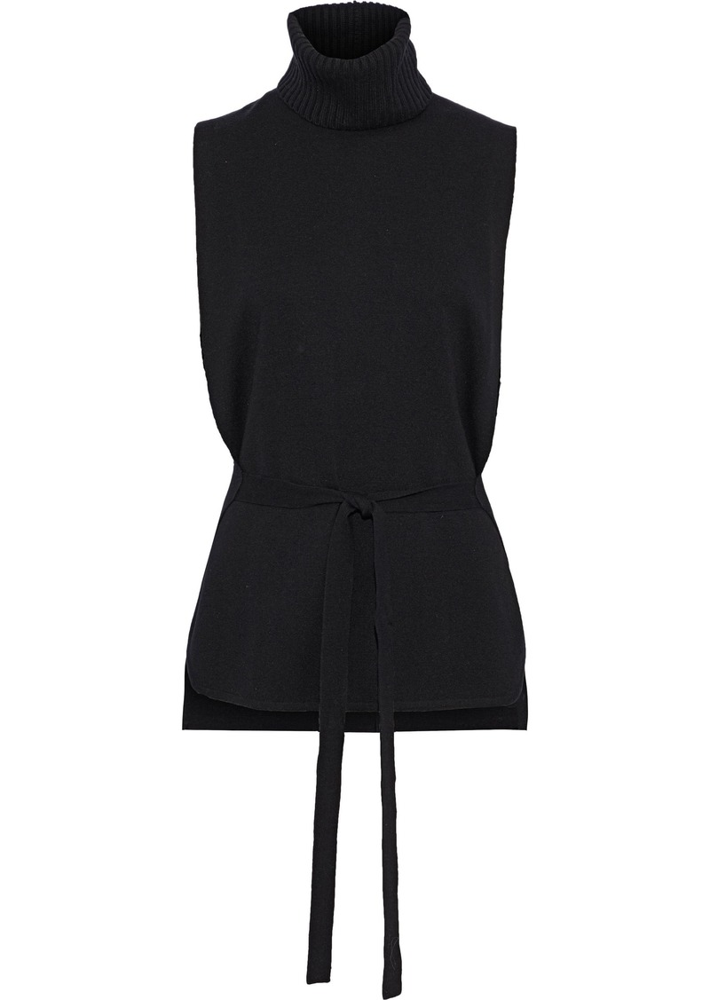 Max Mara Woman Rubiera Tie-front Silk And Wool-blend Turtleneck Top Black