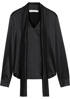 Max Mara Woman Salita Jersey-paneled Tie-neck Silk-satin Crepe Blouse Black