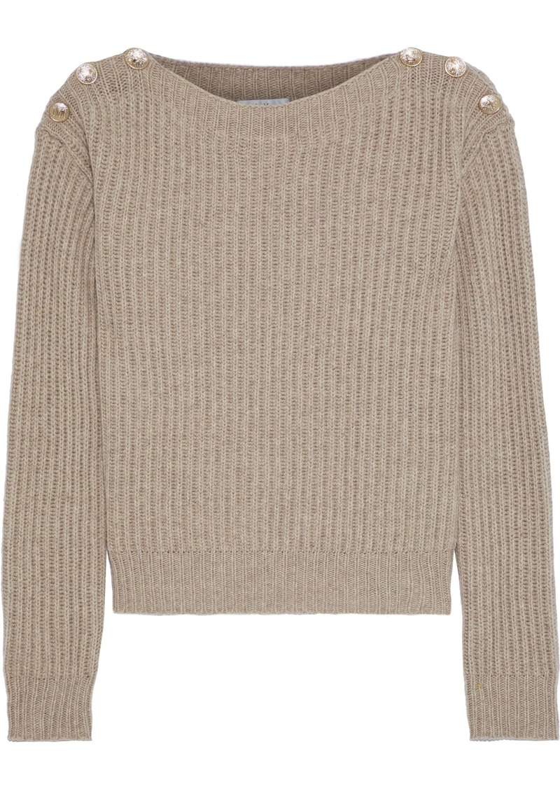 Max Mara Woman Salpa Button-embellished Ribbed Wool And Cashmere-blend Sweater Mushroom