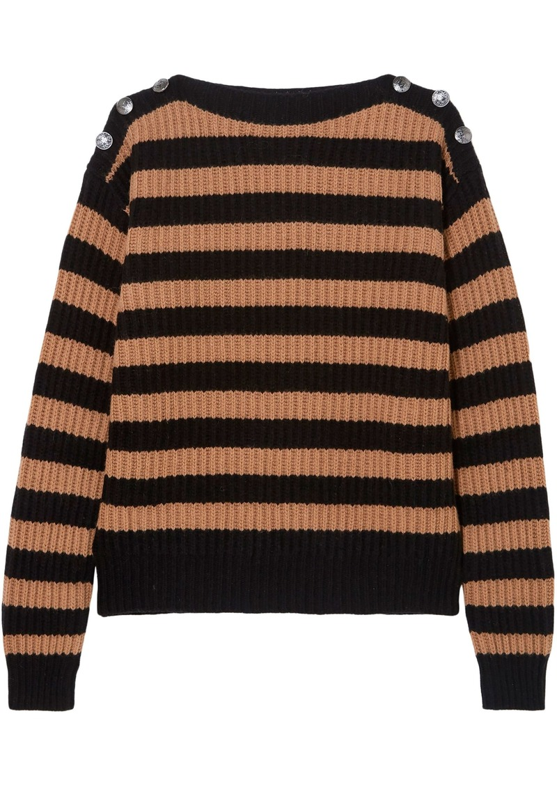Max Mara Woman Salpa Striped Ribbed Wool And Cashmere-blend Sweater Camel