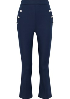 Max Mara Woman Salubre Button-embellished Stretch-cotton Kick-flare Pants Navy