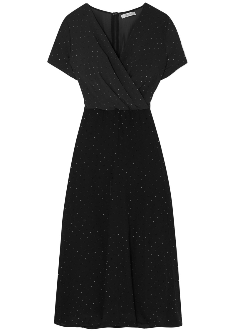 Max Mara Woman Sandalo Wrap-effect Polka-dot Jersey And Silk-chiffon Dress Black