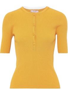 Max Mara Woman Sansa Ribbed-knit Top Marigold