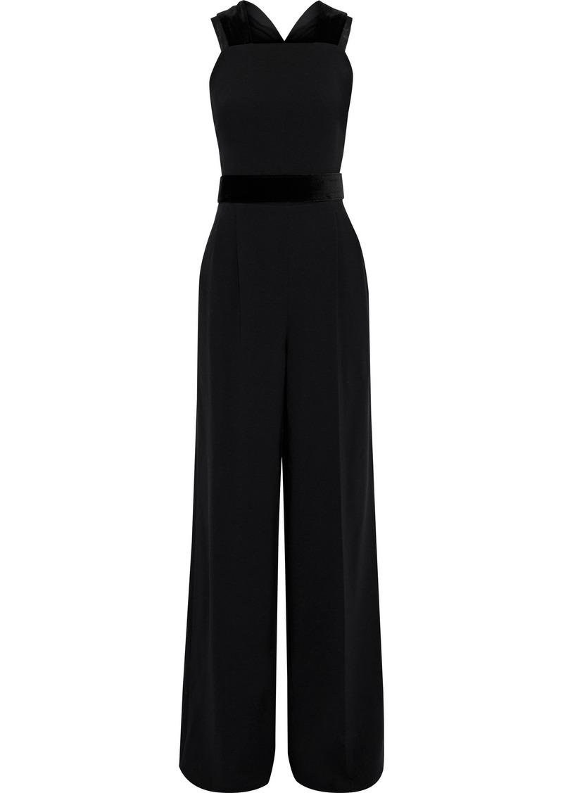 Max Mara Woman Sapone Belted Velvet-trimmed Crepe Wide-leg Jumpsuit Black