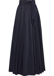Max Mara Woman Scire Belted Polka-dot Taffeta Maxi Wrap Skirt Navy