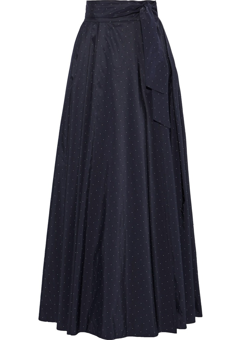 Max Mara Woman Scire Belted Polka-dot Taffeta Maxi Wrap Skirt Navy