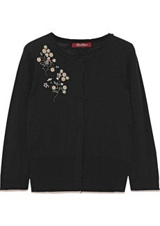 Max Mara Woman Scire Embellished Silk And Wool-blend Cardigan Black