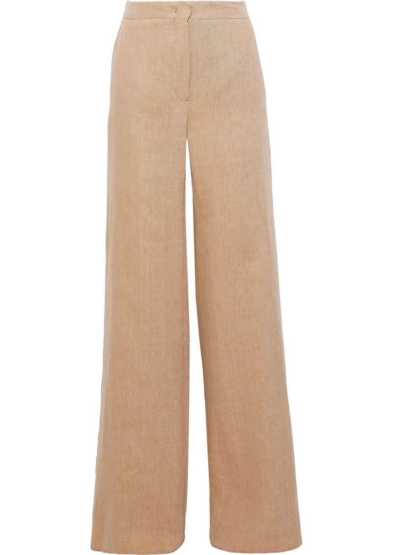 Max Mara Woman Sevres Ramie And Linen-blend Twill Wide-leg Pants Sand