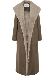 Max Mara Woman Shearling-trimmed Cashmere Hooded Coat Taupe