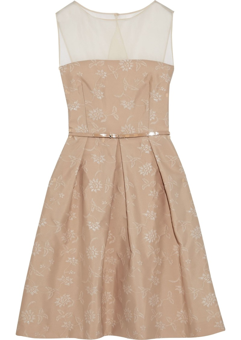 Max Mara Woman Silk Chiffon-paneled Pleated Floral-jacquard Dress Sand