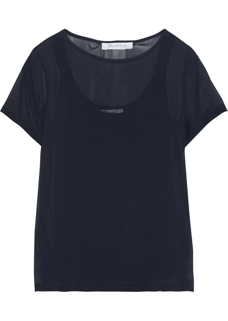 Max Mara Woman Silk-georgette Top Midnight Blue