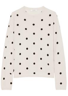 Max Mara Woman Simpaty Polka-dot Silk And Cashmere-blend Sweater Ecru
