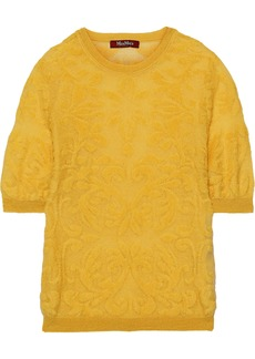 Max Mara Woman Soprano Burnout Knitted Top Marigold
