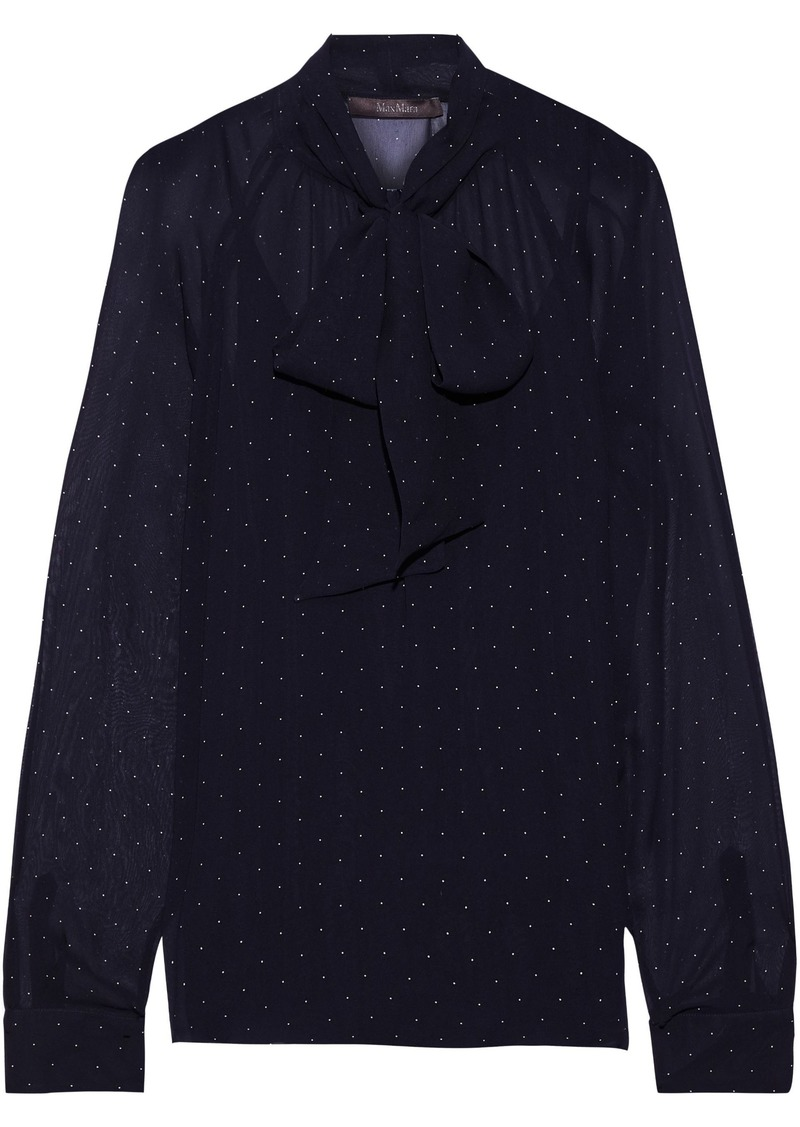 Max Mara Woman Tago Pussy-bow Polka-dot Silk-georgette Blouse Midnight Blue