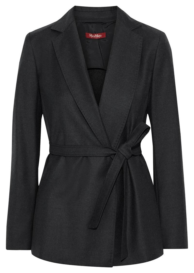 Max Mara Woman Tana Belted Ribbed Knit-paneled Wool-blend Felt Jacket Charcoal