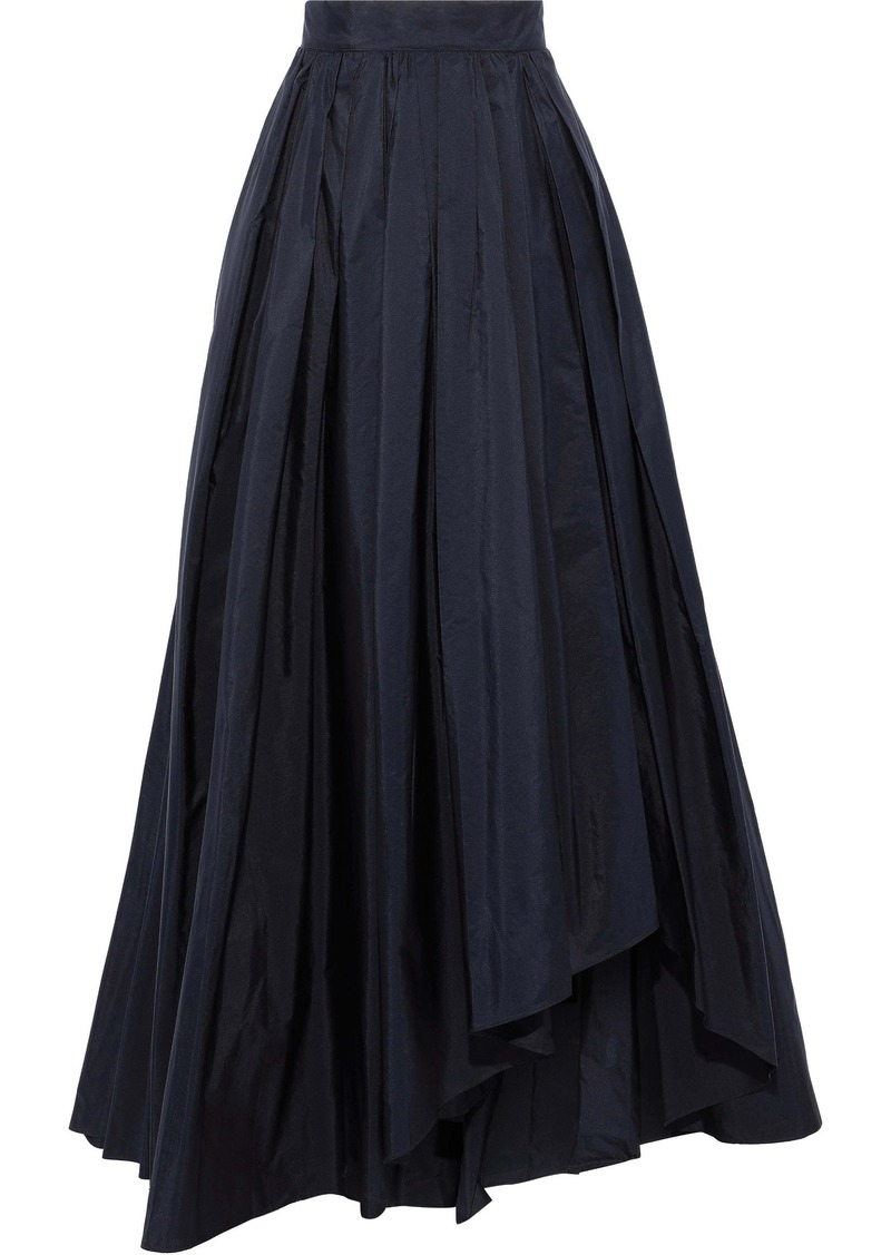 Max Mara Woman Tarallo Flared Pleated Taffeta Maxi Skirt Navy