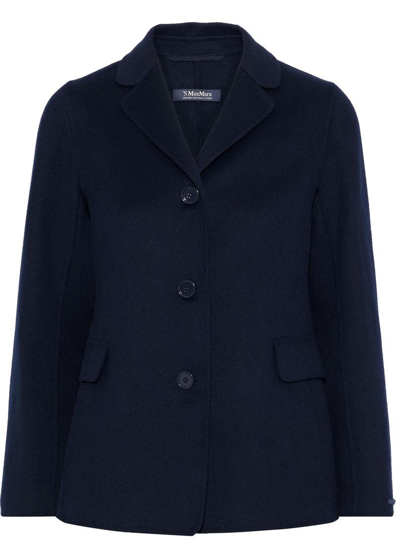 Max Mara Woman Tarallo Wool And Angora-blend Jacket Navy