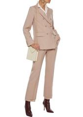 Max Mara Woman Tartufo Silk Chiffon-trimmed Mohair And Silk-blend Straight-leg Pants Sand