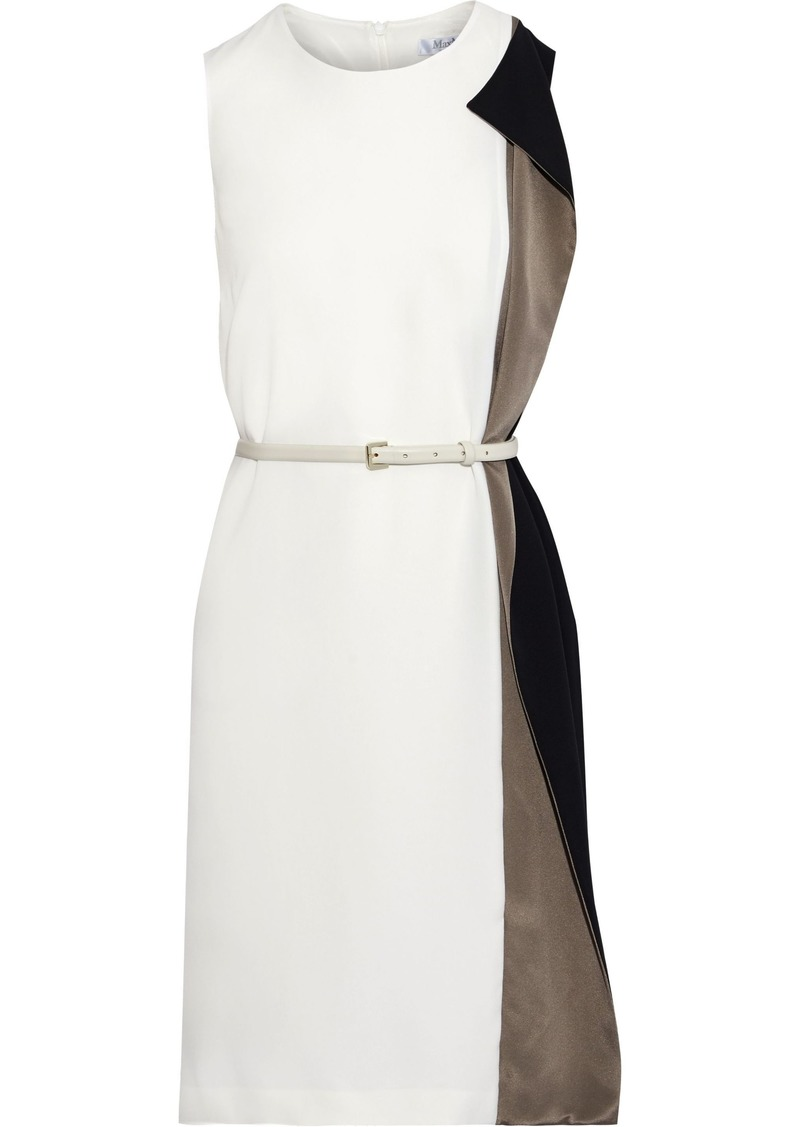 Max Mara Woman Taverna Belted Draped Color-block Cady Dress Ivory