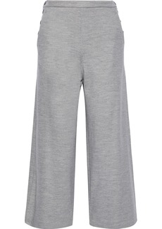 Max Mara Woman Tempra Cropped Wool And Cotton-blend Wide-leg Pants Gray