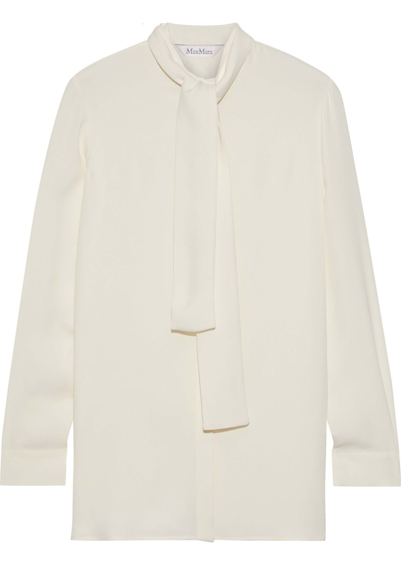 Max Mara Woman Tie-neck Silk-crepe Shirt Cream