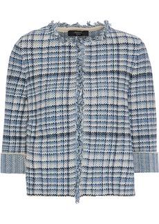 Max Mara Woman Tilly Cotton And Linen-blend Bouclé Jacket Blue