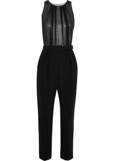 Max Mara Woman Tina Cropped Metallic Silk-chiffon And Cady Jumpsuit Black