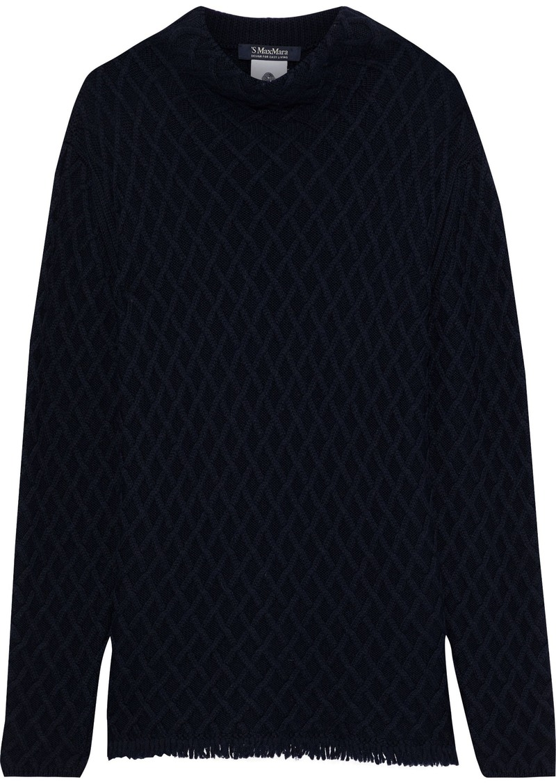 Max Mara Woman Tolosa Fringed Cable-knit Wool And Cashmere-blend Sweater Midnight Blue