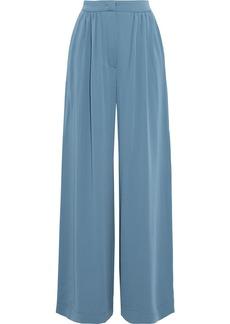 Max Mara Woman Torre Pleated Crepe De Chine Wide-leg Pants Slate Blue