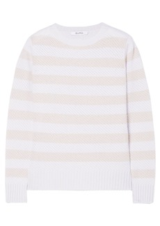 Max Mara Woman Ulisse Striped Cashmere Sweater Light Gray