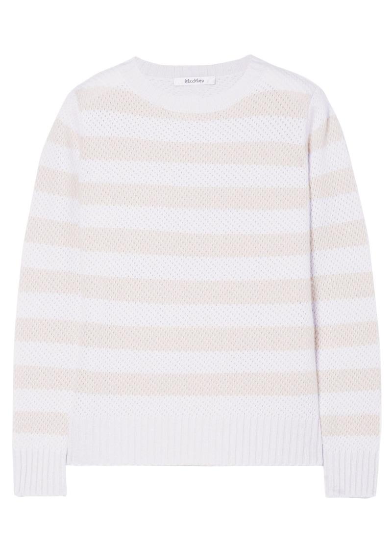 Max Mara Woman Ulisse Striped Cashmere Sweater Light Gray